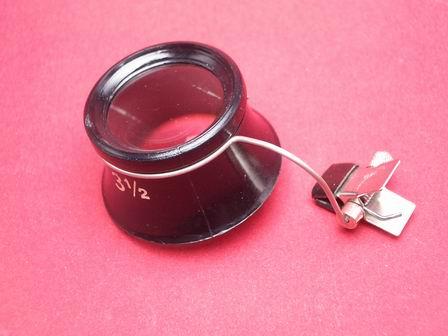 Uhrmacherlupe mit Klemmbügel zur Befestigung an einer Brille