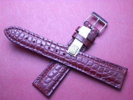 Louisiana Krokodil-Leder-Armband 20mm im Verlauf auf 16mm Farbe: Weinrot