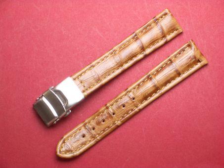Leder-Armband 18mm hell braun, Edelstahl Sicherheitsfaltschließe