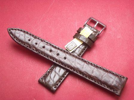 Louisiana Krokodil-Leder-Armband 18mm im Verlauf auf 16mm Farbe: Dunkelbraun