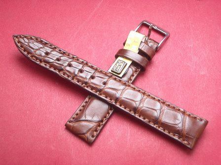 Louisiana Krokodil-Leder-Armband 18mm im Verlauf auf 16mm Farbe: Mittelbraun