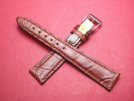 Louisiana Krokodil-Leder-Armband 18mm im Verlauf auf 14mm Farbe: Braun