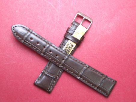 Louisiana Krokodil-Leder-Armband 19mm im Verlauf auf 16mm Farbe: Dunkelbraun