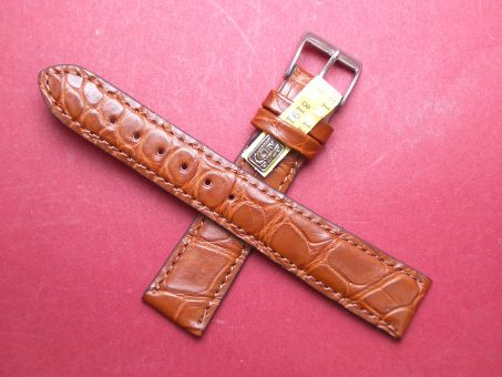 Louisiana Krokodil-Leder-Armband 19mm im Verlauf auf 16mm Farbe: Braun