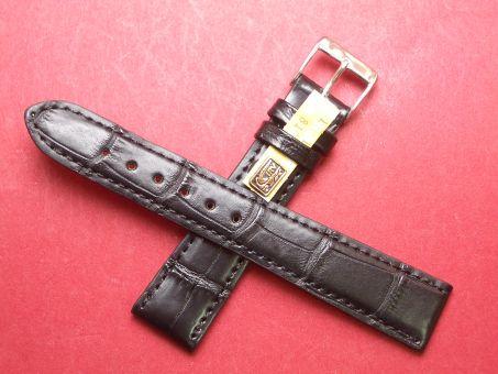 Louisiana Krokodil-Leder-Armband 19mm im Verlauf auf 16mm Farbe: Schwarz