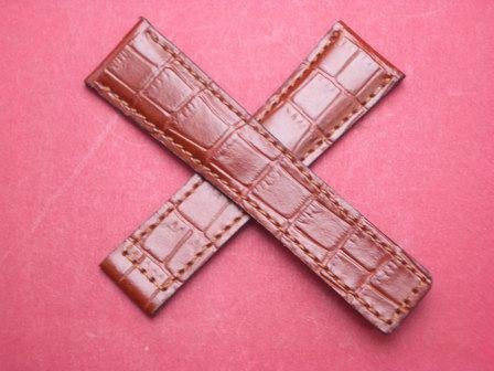 Leder-Armband Kroko-Calf 22mm im Verlauf auf 18mm, auch passend für Tag Heuer mit einer Faltschließe, Farbe: Braun