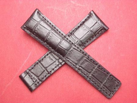 Leder-Armband Kroko-Calf 20mm im Verlauf auf 18mm, auch passend für Tag Heuer an einer Faltschließe, Farbe: Schwarz