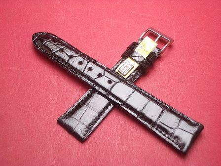 Louisiana Krokodil-Leder-Armband 20mm im Verlauf auf 18mm Farbe: Schwarz glänzend