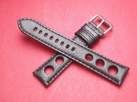 Rallye Leder-Armband 20mm im Verlauf auf 18mm Farbe: Schwarz