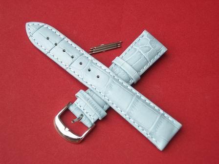 Leder-Armband mit Dornschließe und 3 Federstege Farbe: Hellblau