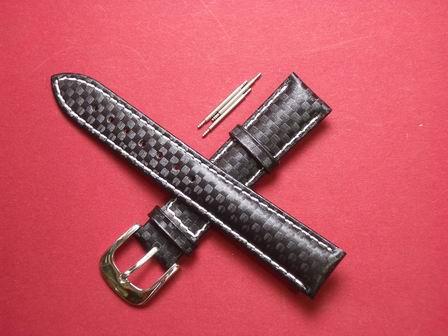 Leder-Armband mit Dornschließe und 3 Federstege Farbe: Schwarz, weiße Naht