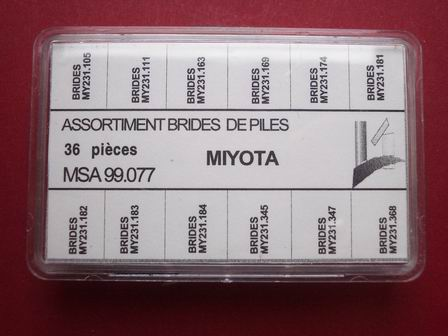 36 Miyota Batteriebügel im Sortiment je 3 Stk. in 12 unterschiedlichen Ausführungen