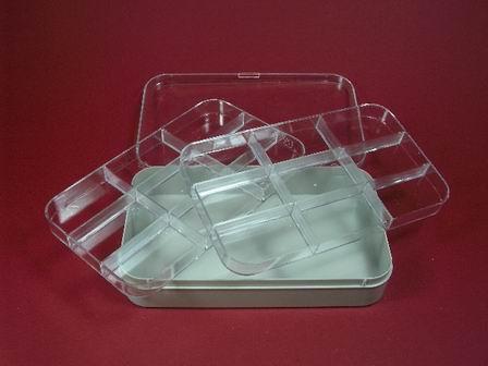 Kunststoff-Dose Box mit zwei Einsätzen und  transparentem Deckel