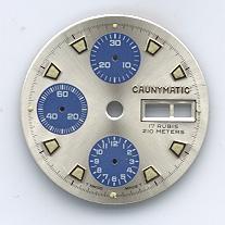Chronographen-Zifferblatt Valjoux Kaliber: 7750 Signiert: Caunymatic