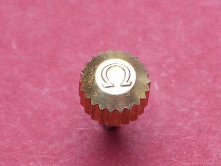 Omega Krone in doublé wasserdicht Ø 4,48mm Höhe3,07mm Gesamthöhe 7,91mm, Tubus 2,00mm
