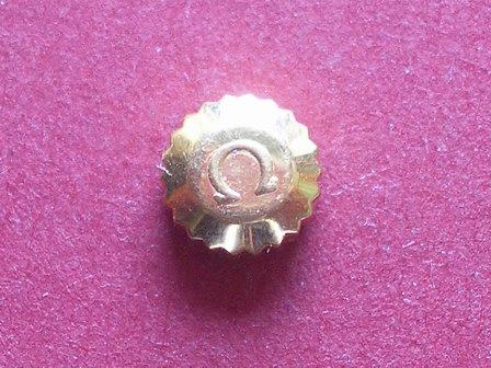 Omega Krone in doublé, wasserdicht Ø 5,00mm, Höhe 2,80mm, Gewinde 0,9mm, Tubus 2,0mm