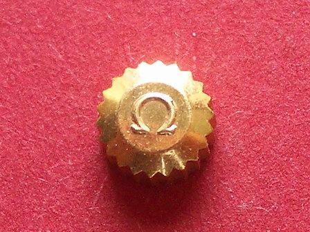 Omega Krone in doublé wasserdicht, Ø 5,00mm, Höhe 3,0mm, Gewinde 0,9mm, Tubus 2,0mm