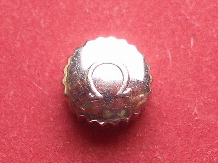 Omega Krone in Stahl, Ø 6,50mm, Höhe 4,50mm, Gewinde 1,2mm, Tubus 2,5mm