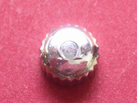 Omega Krone in Stahl, Ø 6,5mm, Höhe 3,85mm, Gewinde 0,9mm,