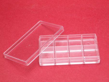 1 Kunstoffdose Box mit 8 Fächer und Deckel ca. 52mm x 30mm x 9,7mm, beachten sie unsere Staffelpreise