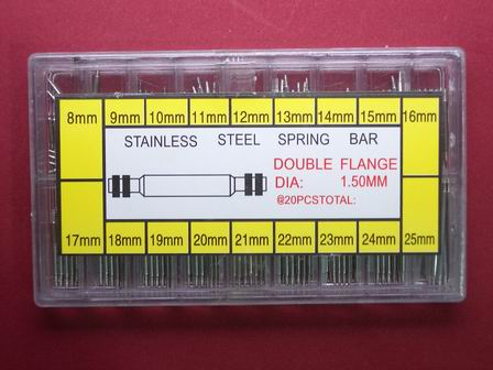 Federstege Set 360 Stk in Stahl, Doppelflansch, Ø1,5mm, 8mm-25mm