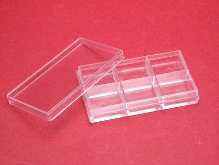 1 Kunstoffdose Box mit 6 Fächer und Deckel ca. 52mm x 30mm x 9,7mm, beachten sie unsere Staffelpreise 10 Stück