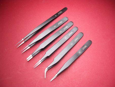 Pinzetten-Set (Kornzangen) Werkzeug 4 Stk. No. 5, OO, 2A, 3C, 7A, SS, schwarz nicht magnetisch