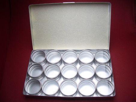 Sortier-Box aus Aluminium einschließlich 15 Dosen mit Glasdeckel