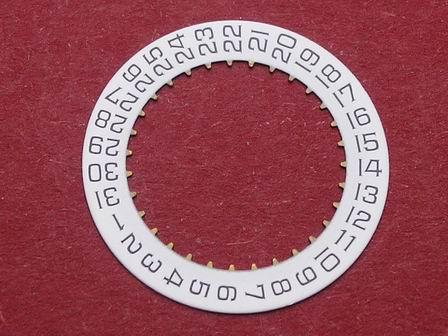 Cartier 87 Datumsscheibe, schwarze Schrift auf weißem Grund Datumsfenster bei der 3