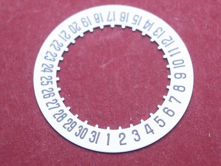 Cartier 687 Datumsscheibe, schwarze Schrift auf weißem Grund Datumsfenster bei der 6