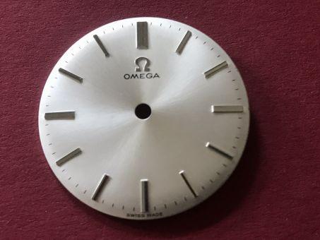 Omega Zifferblatt mit chromfarbenen Indikationen, Durchmesser: 29,54