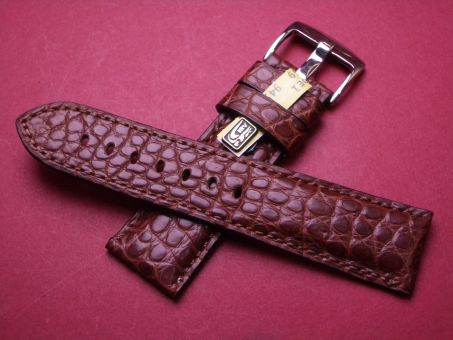 Louisiana Krokodil-Leder-Armband, 24mm im Verlauf auf 22mm Farbe: Braun