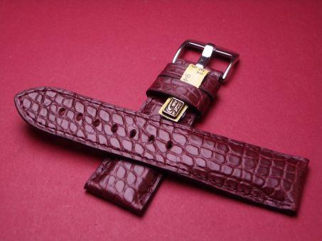 Louisiana Krokodil-Leder-Armband, 24mm im Verlauf auf 22mm Farbe: Rotbaun
