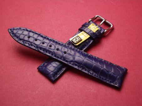 Louisiana Krokodil-Leder-Armband, 18mm im Verlauf auf 16mm Farbe: Blau