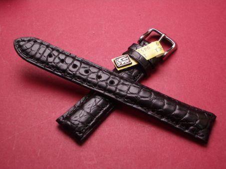 Louisiana Krokodil-Leder-Armband, 18mm im Verlauf auf 16mm Farbe: Schwarz