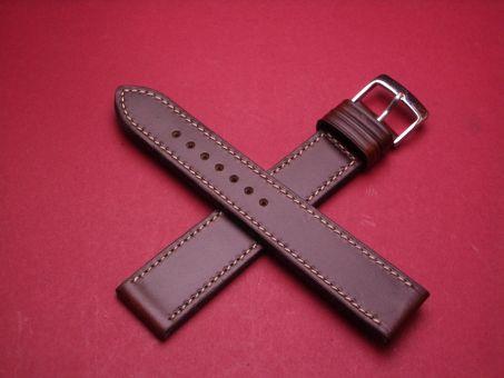 Leder-Armband Calf 20mm im Verlauf auf 18mm, Signiert: Glashütte, Farbe: Braun mit weißer Naht, lang