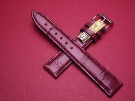 Louisiana Krokodil-Leder-Armband , 18mm im Verlauf auf 16mm Farbe: rote Beere