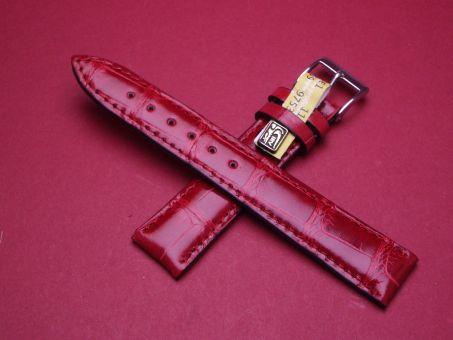 Louisiana Krokodil-Leder-Armband , 18mm im Verlauf auf 16mm Farbe: Rot