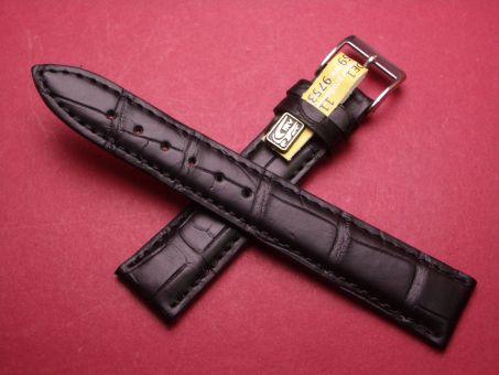 Louisiana Krokodil-Leder-Armband , 18mm im Verlauf auf 16mm Farbe: Schwarz große Narbung