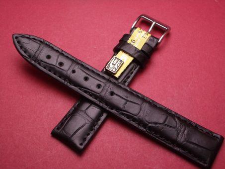 Louisiana Krokodil-Leder-Armband , 18mm im Verlauf auf 16mm Farbe: Schwarz
