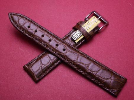 Louisiana Krokodil-Leder-Armband , 18mm im Verlauf auf 16mm Farbe: dunkel Braun