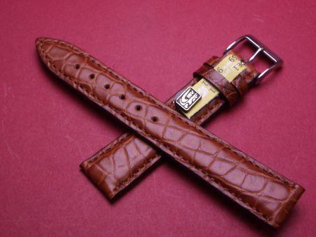 Louisiana Krokodil-Leder-Armband , 18mm im Verlauf auf 16mm Farbe: Braun