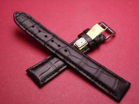 Louisiana Krokodil-Leder-Armband, 19mm im Verlauf auf 16mm, Farbe: Schwarz