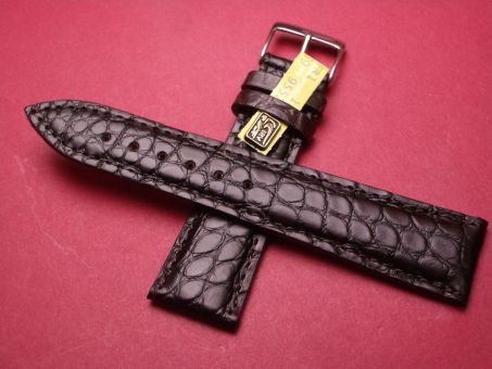 Louisiana Krokodil-Leder-Armband 22mm im Verlauf auf 18mm, Farbe: dunkel Braun