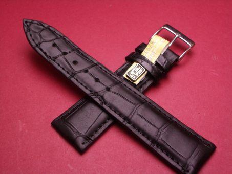 Louisiana Krokodil-Leder-Armband 22mm im Verlauf auf 18mm, Farbe: schwarz