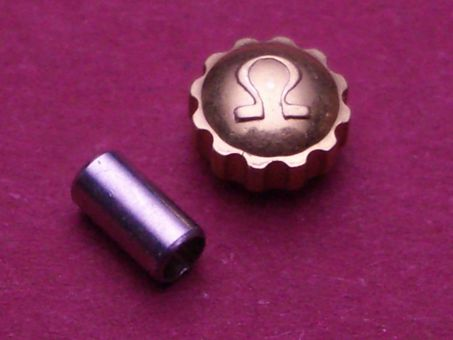 Omega Krone in doublé, Ø 4,75mm, Höhe 2,60mm, Gesamthöhe 3,0mm Gewinde 0,9mm, inkl. Sathltubus 2,0mm