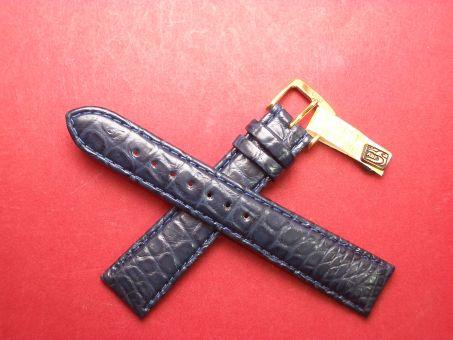 Louisiana Krokodil-Leder-Armband 19mm Di-Model im Verlauf auf 16mm Farbe: Blau