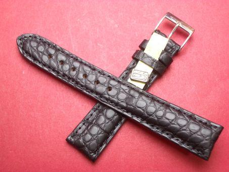 Louisiana Krokodil-Leder-Armband 19mm im Verlauf auf 16mm Farbe: Schwarz matt