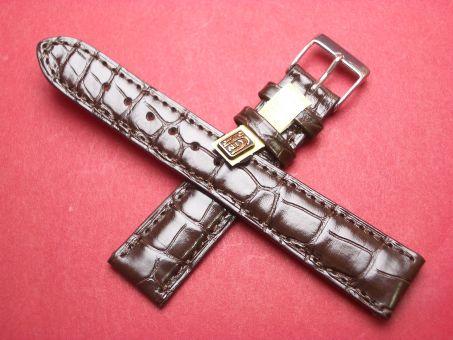Louisiana Krokodil-Leder-Armband 19mm im Verlauf auf 16mm Farbe: Dunkelbraun glänzend
