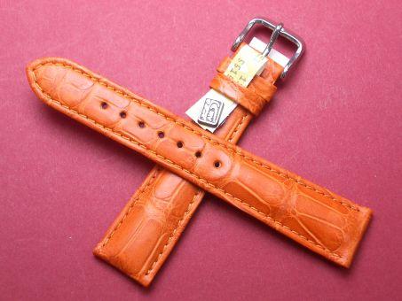 Louisiana Krokodil-Leder-Armband 20mm im Verlauf auf 16mm Farbe: Orange